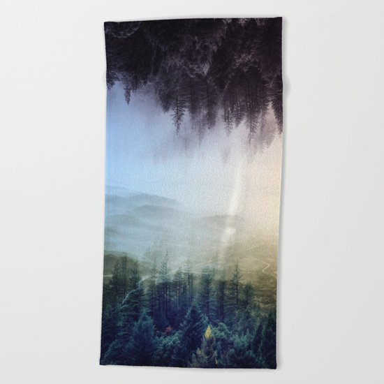 flipped forest Beach Towel