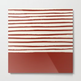 Holiday x Red Stripes Metal Print