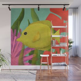 Yellow Fish In The Ocean Wall Mural
