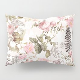 Vintage & Shabby Chic - Blush Roses and Fern Leaf Pillow Sham