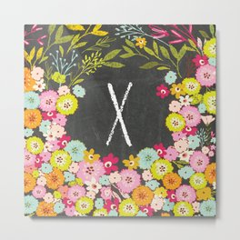 X botanical monogram. Letter initial with colorful flowers on a chalkboard background Metal Print