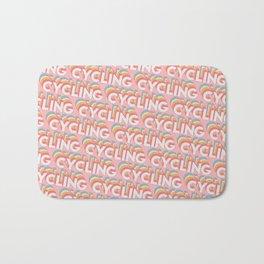 Cycling Trendy Rainbow Text Pattern (Pink) Bath Mat