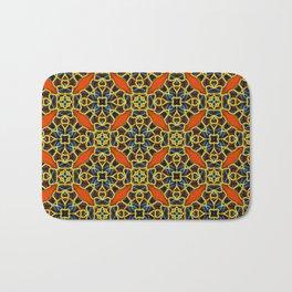Beautifu Blue and Orange Geometric Beadwork Print Bath Mat