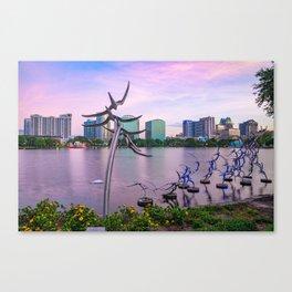 Lake Eola Sunset and Orlando Skyline Canvas Print