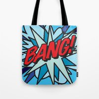 comic book Tote Bags featuring Comic Book BANG! by Thisisnotme