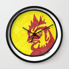 Red and Yellow Chicken Circle Wall Clock
