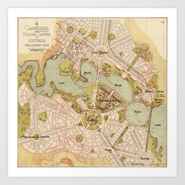 Map Of Canberra 1913 Art Print