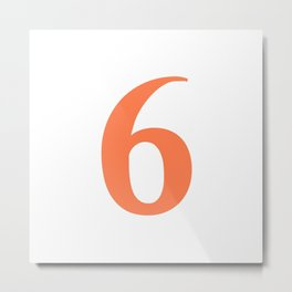 6 (CORAL & WHITE NUMBERS) Metal Print