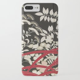Kuro-tomesode with a Pair of Pheasants in Hiding (Japan, untouched kimono detail) iPhone Case