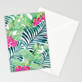 Lush Tropical Fronds & Hibiscus Stationery Cards