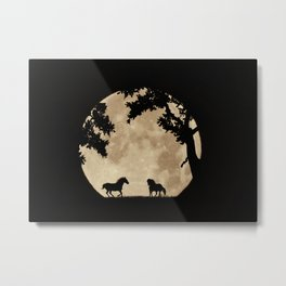 Two Horses in the Sepia Full Moon, Moon Struck Magic Metal Print