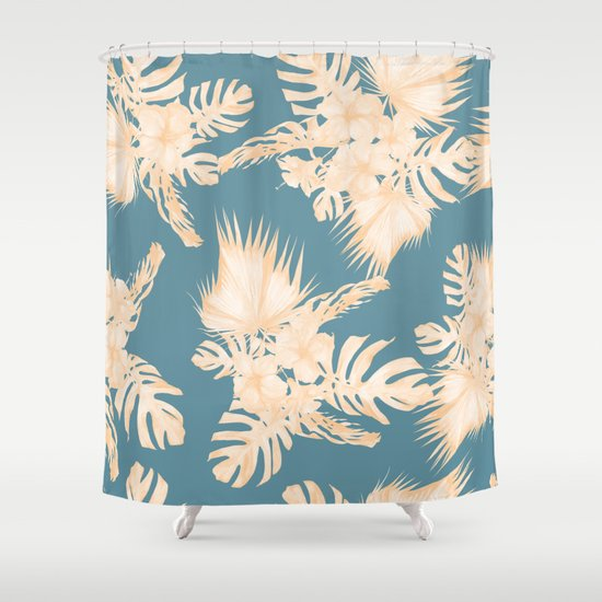 island vacation hibiscus palm coral teal blue shower