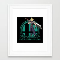 smash bros Framed Art Prints featuring Cloud - Super Smash Bros. by Donkey Inferno
