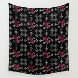 Ethnic red black pattern Wall Tapestry