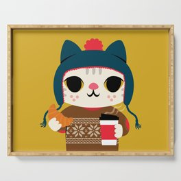 Holiday - Cat in a Sweater / Mustard Yellow Serving Tray