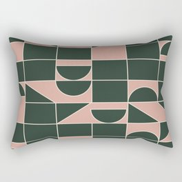Modern Squares and Shapes in Earthy Blush Pink and Forest Green Rectangular Pillow