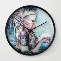 rat Wall Clocks featuring Yolandi The Rat Mistress  by Tanya Shatseva