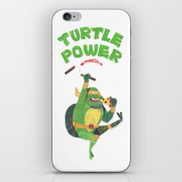 ninja turtle iPhone & iPod Skins featuring Ninja Turtles Turtle Power by MrMaars