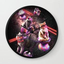Galaxy Laser Yo-Yo Cat - Space Yo-Yo Cats with Lazer Eyes Wall Clock