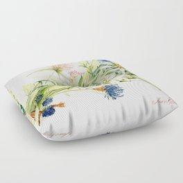 Bouquet of Wildflowers Original Colored Pencil Drawing Floor Pillow
