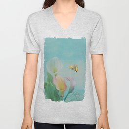 Painterly Calla flowers and leaves Unisex V-Neck