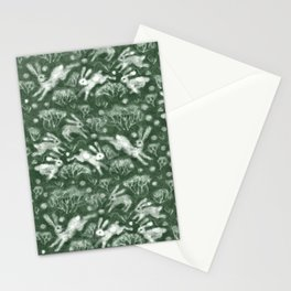 Hares Field, Jumping White Rabbits Winter Holidays Pattern,  Stationery Cards