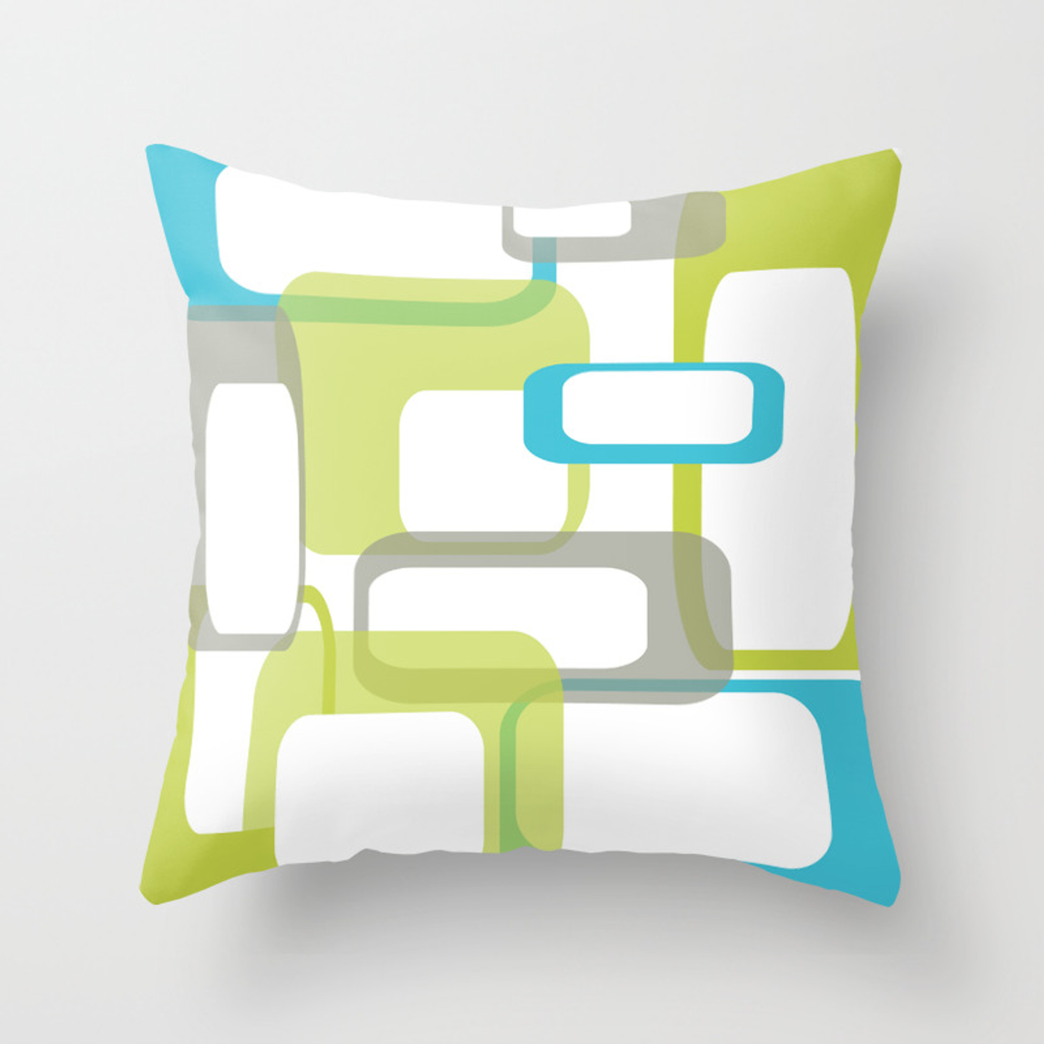 Picture of: Mid Century Modern Rectangle Design Blue Green And Gray Throw Pillow By 19monkeys Society6