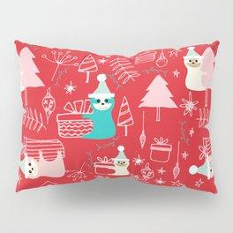 Santa Claus Cute Sloth Christmas pattern Red #christmas Pillow Sham