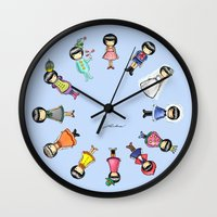 girly Wall Clocks featuring Girly by Ho Man Law