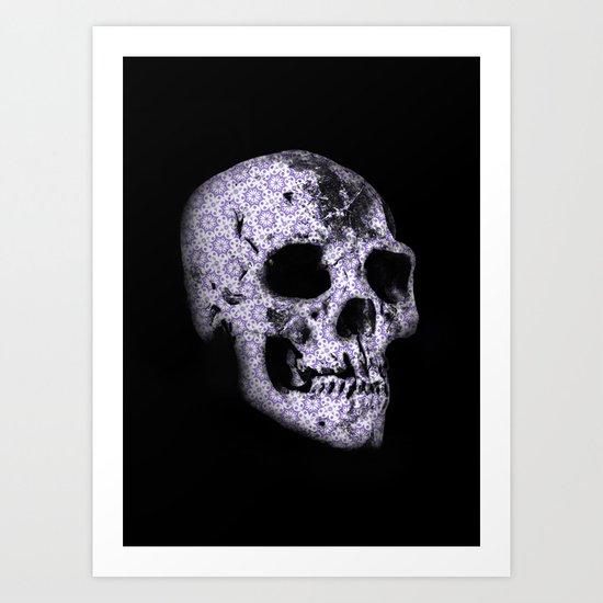 blue print skull Art Print