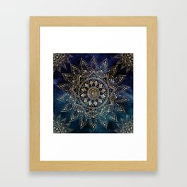 Elegant Gold Mandala Blue Galaxy Design Framed Art Print