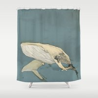 whales Shower Curtains featuring Whales by Mikael Biström