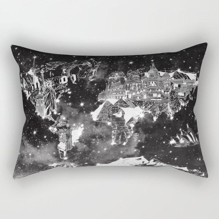 world map galaxy black and white Rectangular Pillow