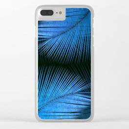 Palm leaf synchronicity - metallic blue Clear iPhone Case