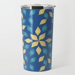floral golden pattern on blue background Travel Mug