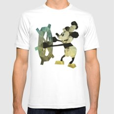Mickey Mouse as Steamboat Willie MEDIUM White Mens Fitted Tee
