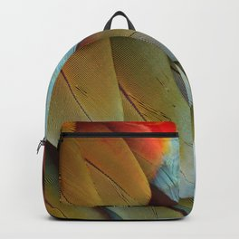 Green and Red Macaw Feathers Backpack