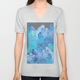 AURAL BLUE CRYSTALS ART Unisex V-Neck