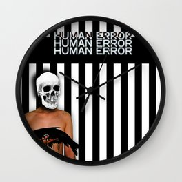Human Error Skull Holding Fish Covered in Oil Wall Clock