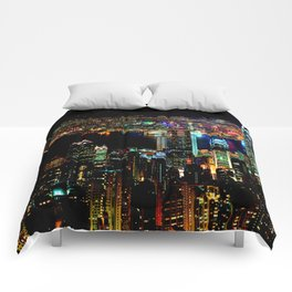 Hong Kong City Skyine Black Night Comforters