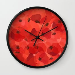 FIELD OF POPPIES Wall Clock
