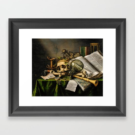 Vintage Vanitas- Still Life with Skull Framed Art Print