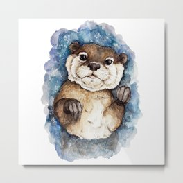 Watercolor Otter Metal Print