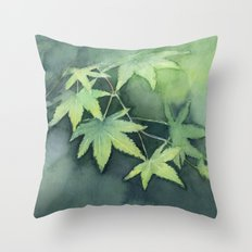 Japanese Maple Watercolor, Green Leaves, Tree Branch Throw Pillow