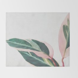 Pink Leaves II Throw Blanket