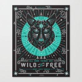 Wild & Free Wolf – Turquoise & Grey Canvas Print