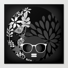 Afro Diva : Sophisticated Lady Black & White Canvas Print