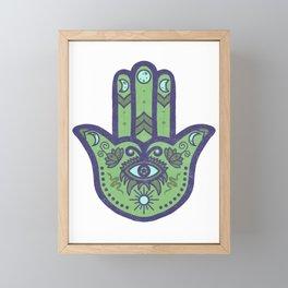 Beetle Juice | Hamsa Hand Amulet | Juicy Green Framed Mini Art Print