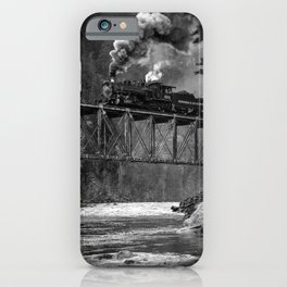 Steam Engine on a trestle river black and white photograph / art photography  iPhone Case
