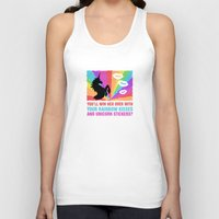 stickers Tank Tops featuring Regina Sassy Mills | Rainbow kisses and unicorn stickers by CLM Design